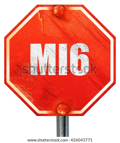 mi6 secret service, 3D rendering, a red stop sign - stock photo