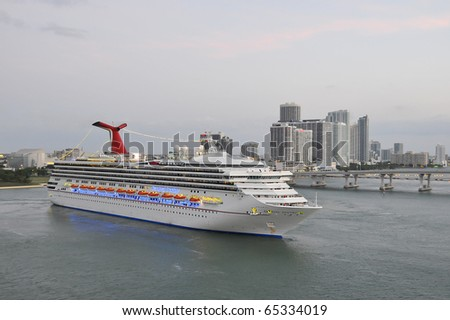 MIAMI-APRIL 25: Carnival Cruise Lines Destiny Arrives in Miami.  Destiny is sister ship to Splendor, that had a fire in engine room November 8, 2010.  Both ships have home port in Miami. - stock photo