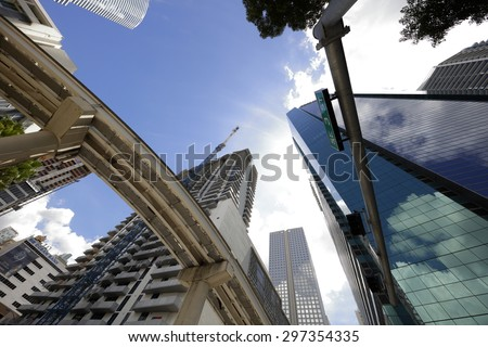 Miami architecture and the Metrorail overhead - stock photo
