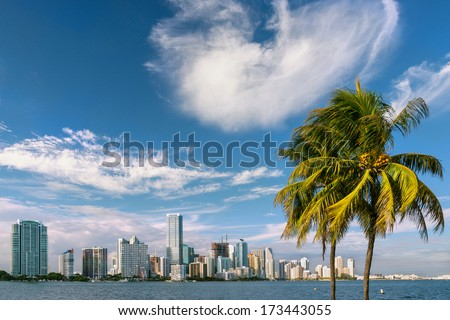 miami bayfront cityscape skyline, winter 2014 - stock photo