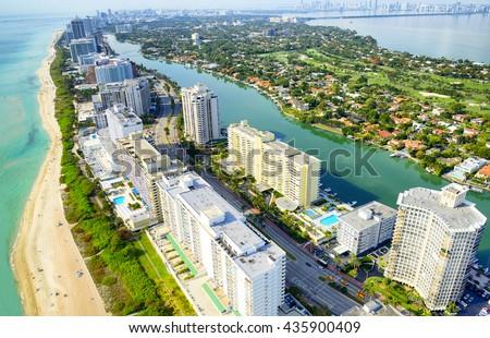 Miami Beach aerial view - stock photo