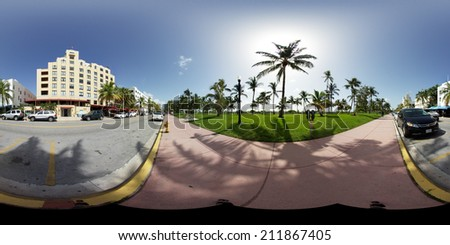 MIAMI BEACH - AUGUST 18: Spherical 360x180 panoramic image of Collins Avenue Miami Beach for virtual tours August 18, 2014. Miami Beach is a year round tourist hotspot best known for it's night life.  - stock photo