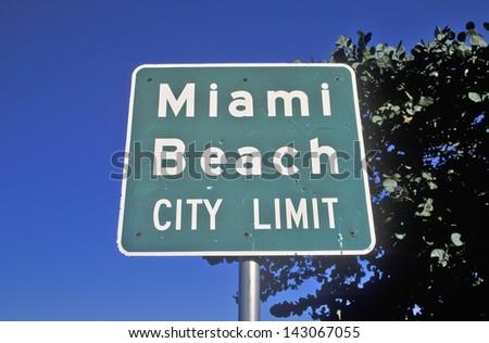 Miami Beach City Limit sign also known as south beach, Miami Beach, Florida - stock photo