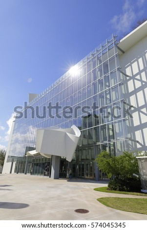 MIAMI BEACH - FEBRUARY 6, 2017: Stock photo of the New World Center which is a concert hall in the South Beach section of Miami Beach.