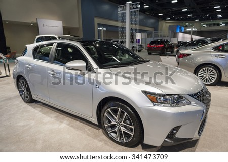 MIAMI BEACH, FL, USA - NOVEMBER 6, 2015: Lexus CT200h on display during the 2015 Miami International Auto Show at the Miami Beach Convention Center in downtown Miami Beach.