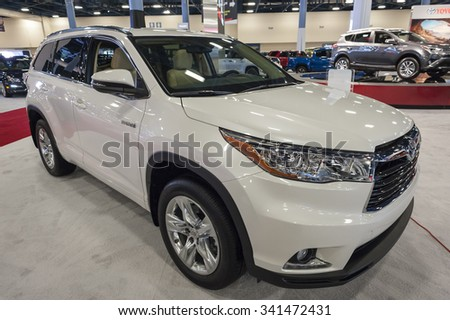 MIAMI BEACH, FL, USA - NOVEMBER 6, 2015:  Toyota Highlander hybrid on display during the 2015 Miami International Auto Show at the Miami Beach Convention Center in downtown Miami Beach.