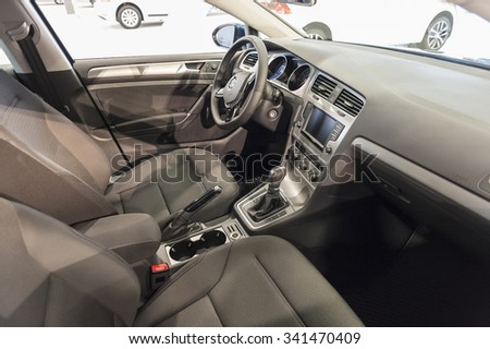 MIAMI BEACH, FL, USA - NOVEMBER 6, 2015: Volkswagen Golf Sportwagen TSI interior on display during the 2015 Miami International Auto Show at the Miami Beach Convention Center in downtown Miami Beach.