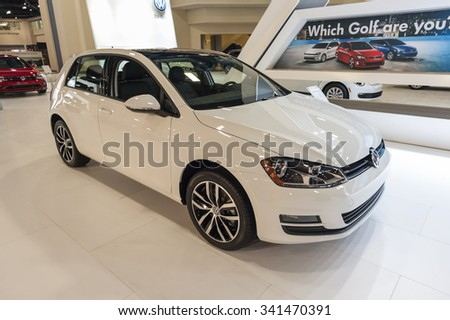 MIAMI BEACH, FL, USA - NOVEMBER 6, 2015: Volkswagen Golf TSI on display during the 2015 Miami International Auto Show at the Miami Beach Convention Center in downtown Miami Beach.