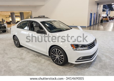 MIAMI BEACH, FL, USA - NOVEMBER 6, 2015: Volkswagen Jetta Sport on display during the 2015 Miami International Auto Show at the Miami Beach Convention Center in downtown Miami Beach.