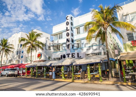 MIAMI BEACH, FLORIDA - APRIL 25, 2016:  View of landmark Colony Hotel along Ocean Drive in the Art Deco District of South Beach.