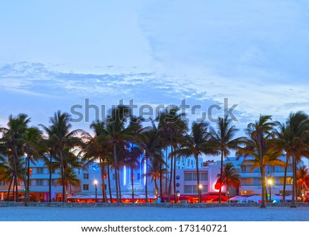 Miami Beach, Florida  hotels and restaurants at sunset on Ocean Drive, world famous destination for it's nightlife, beautiful weather and pristine beaches - stock photo