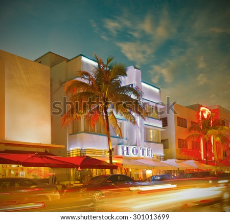 Miami Beach, Florida,  hotels and restaurants at sunset , world famous destination for it's nightlife, beautiful weather and  beaches. Instagram filter, color processing - stock photo