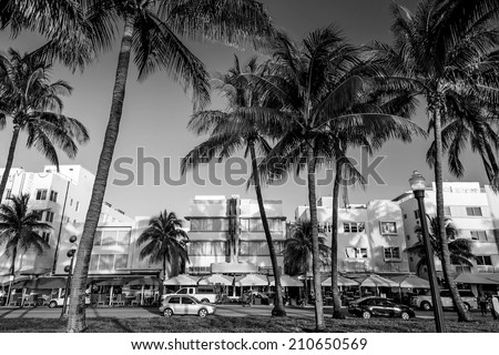 Miami Beach, Florida hotels and restaurants on Ocean Drive World famous destination for it's nightlife, beautiful weather and pristine beaches, black, white - stock photo