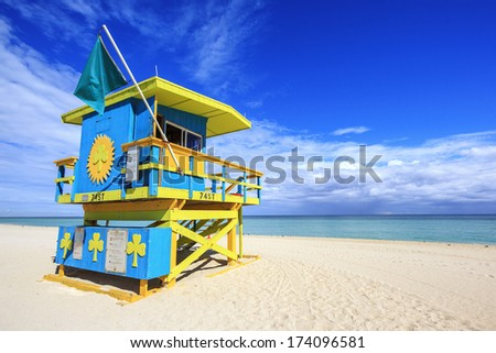 Miami Beach Florida, lifeguard house in a typical colorful Art Deco style - stock photo