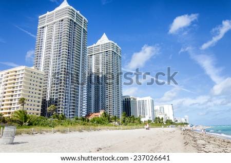 Miami beach, Florida, United States of America - December 6, 2014 - Ocean cost north Miami beach - stock photo