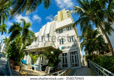 Miami Beach, Florida USA - December 29, 2015: Fish eye view of the beautiful Shorecrest Hotel in Miami Beach, a popular international travel destination, with palm trees and art deco architecture. - stock photo