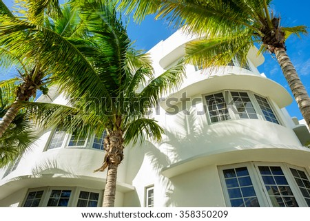 Miami Beach, Florida USA - December 29, 2015: Miami Beach is a popular international travel destination with the classic art deco architecture and tropical weather and palm trees. - stock photo