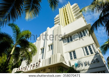 Miami Beach, Florida USA - December 29, 2015: The beautiful Shorecrest Hotel in Miami Beach, a popular international travel destination, with palm trees and art deco architecture. - stock photo