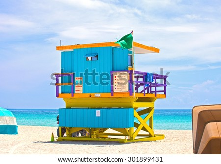 Miami Beach Florida, USA famous tropical travel location, typical Art Deco lifeguard house on a beautiful summer day with ocean and blue sky  - stock photo