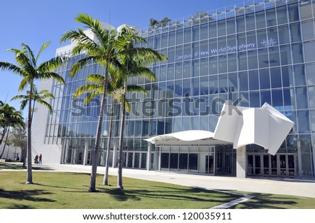 MIAMI BEACH - FLORIDA - USA, OCTOBER 30: the New World Center which opened in 2011 and was designed by architect Frank Gehry and acoustician Yasuhisa Toyota on october 30 2012 in Miami beach, Florida. - stock photo