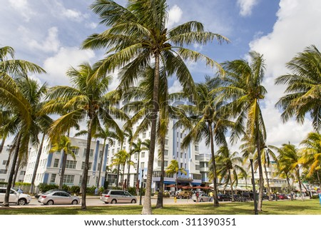 Miami Beach is a coastal resort city in Miami-Dade County, Florida, United States. It was incorporated on March 26, 1915. - stock photo