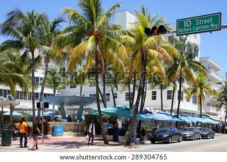 MIAMI BEACH - JUNE 19: Photo of the Clevelander Miami Beach which is a bar and night club located at 10th street and Ocean Drive June 19, 2015 in Miami Beach FL - stock photo