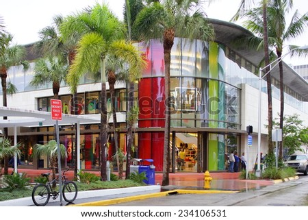 MIAMI BEACH - NOVEMBER 21: Gap Lincoln Road. Gap is a retail clothing store founded in 1969 and headquartered in San Fransisco CA, USA November 21, 2014 in Miami Beach USA.  - stock photo