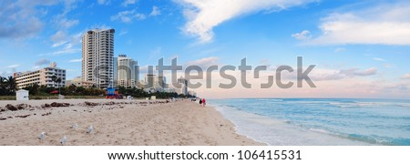 Miami Beach ocean view at sunset - stock photo