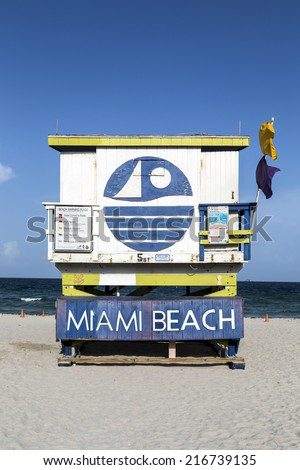 Miami Beach sign on lifeguard hut - stock photo