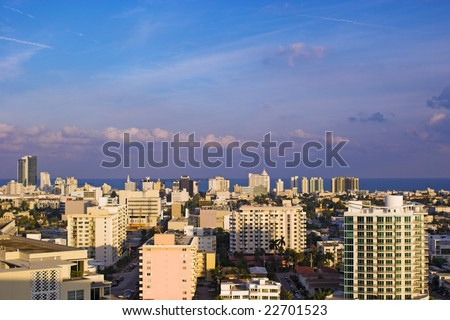Miami Beach Skyline Looking Towards Atlantic Ocean - stock photo