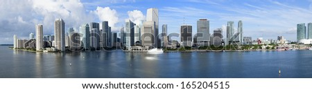 Miami Beach Skyline, panoramic photo - stock photo