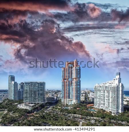 Miami Beach sunset skyline from South Pointe Park, Aerial view - Florida, USA. - stock photo