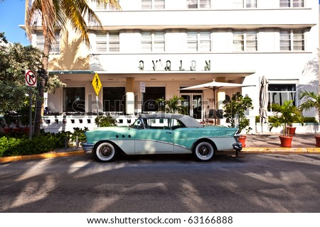 MIAMI BEACH, USA - AUGUST 02: midday view at Ocean drive on August 02,2010 in Miami Beach, Florida. Art Deco architecture in South Beach is one of the main tourist attractions in Miami. - stock photo