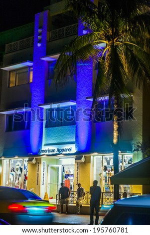 MIAMI BEACH, USA - AUGUST 2, 2010: shop the Apparel at ocean drive is open in the night in Miami Beach, Florida. Art Deco Night-Life in South Beach is one of the main tourist attractions in Miami.