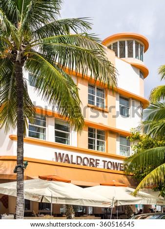 MIAMI BEACH, USA - SEPTEMBER 8, 2015. Art Deco Waldorf Towers hotel in the touristic avenue Ocean Drive, Miami Beach, Florida. - stock photo