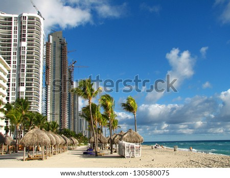 Miami Beach view in winter time with building under construction - stock photo