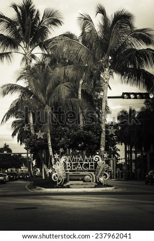 Miami Beach welcome sign with christmas decoration, Florida- vintage view - stock photo