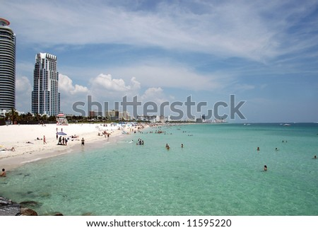 Miami Beach with Crowds and High Rise Condominiums
