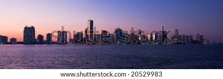 Miami Biscayne Bay Front Skyline Sunset Panorama - stock photo