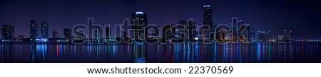 Miami Biscayne Bay late evening panorama - stock photo
