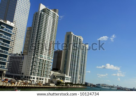 Miami Buildings and Blue Sky - stock photo