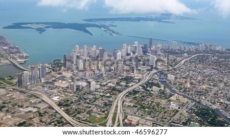 Miami city Downtown aerial view  blue sea buildings town - stock photo