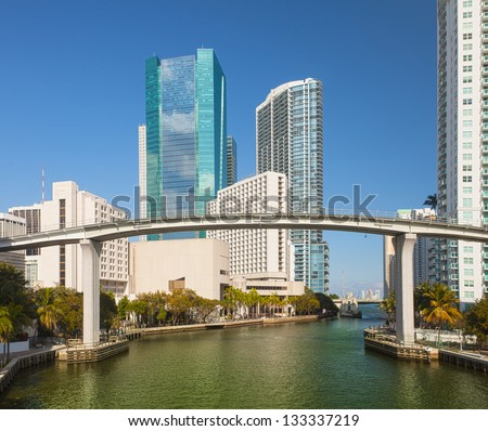 Miami city Florida, USA, view of downtown financial buildings and Brickell key on a summer day with blue sky and green waters of Biscayne Bay - stock photo