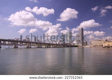 Miami city from Venice causeway - stock photo