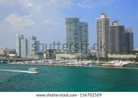 miami city scape in day time ,florida USA - stock photo