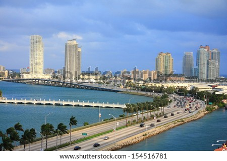 miami city scape in day time ,forida USA