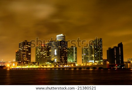 Miami City skyline at a stormy night - the photo location is geo-tagged. - stock photo