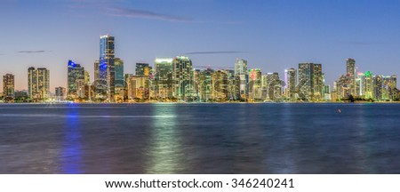 Miami City Skyline viewed from Biscayne Bay Panorama