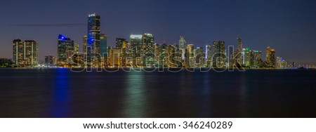Miami City Skyline viewed from Biscayne Bay Panorama - stock photo