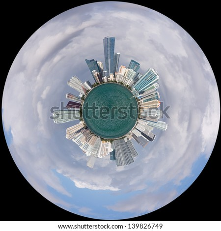 Miami cityscape skyline from Rickenbacker causeway on cloudy morning processed into Little Planet or Little world polar coordinates - stock photo